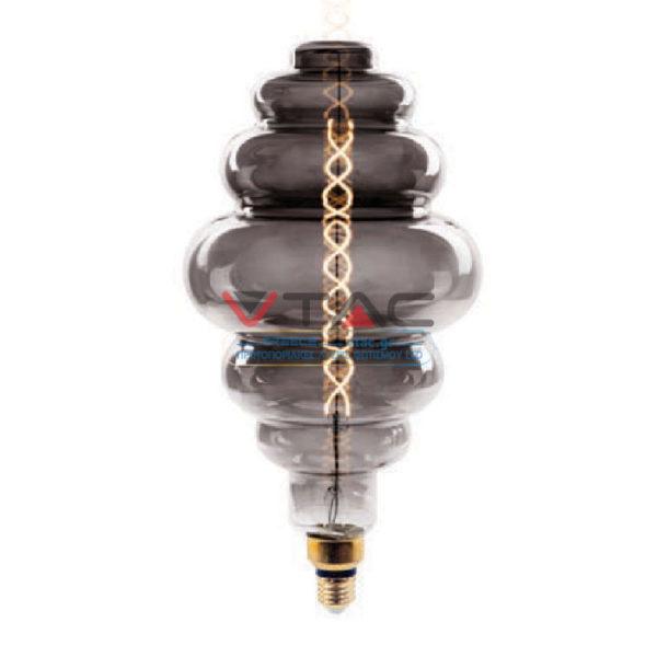 Λάμπα LED E27 Special Filament S200 8W Θερμό λευκό 2200K Smokey cover Dimmable