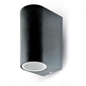 Εξωτερικό επιτοίχιο φωτιστικό 2 x GU10 Στρογγυλό Μαύρο σώμα