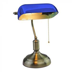 Φωτιστικό γραφείου Vintage E27 γυαλί-μέταλλο μπλε