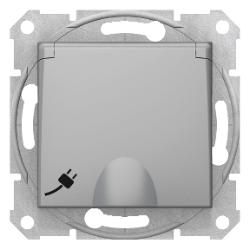 Sedna πρίζα σούκο ασφαλείας με καπάκι (2Π+Γ) Αλουμίνιο