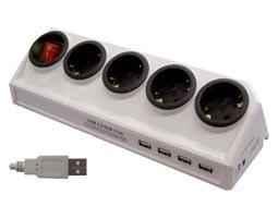 ΠΟΛΥΠΡΙΖΟ ΜΕ ΔΙΑΚΟΠΤΗ & ΑΣΦΑΛΕΙΑΣ 4 ΘΕΣΕΩΝ + USB 3X1.5 2m ΓΩΝΙΑΚΟ ΛΕΥΚΟ