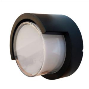 LED αδιάβροχη απλίκα 12W IP65 3000K Θερμό λευκό Μαύρο σώμα στρογγυλή