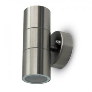 Εξωτερικό επιτοίχιο φωτιστικό 2 x GU10 Στρογγυλό Stainless Steel Brush σώμα