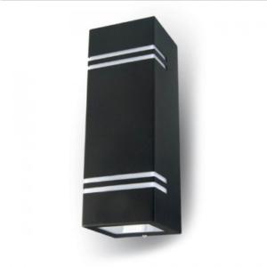 Εξωτερικό επιτοίχιο φωτιστικό 2 x GU10 Τετράγωνο Μαύρο σώμα