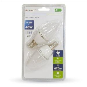 Λάμπα LED E14 Κερί SMD 5.5W Θερμό λευκό 2700K Λευκό Blister 2 τμχ.