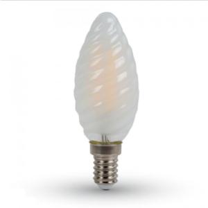 Λάμπα LED E14 Κερί Filament 4W Λευκό 6400K Frost Cover