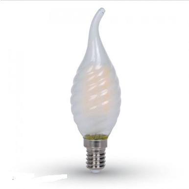 Λάμπα LED E14 Κερί φλόγα Filament 4W Φυσικό λευκό 4000K Frost Cover