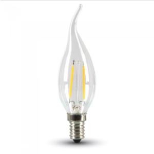 Λάμπα LED E14 Κερί φλόγα Filament 4W Φυσικό λευκό 4000K Γυαλί διάφανο