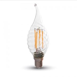 Λάμπα LED E14 Κερί φλόγα Filament 4W Θερμό λευκό 2700K Γυαλί διάφανο Dimmable