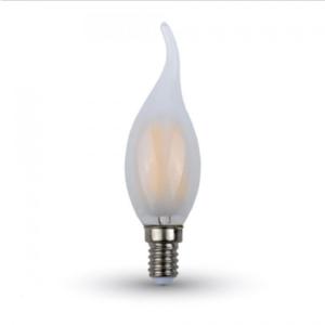 Λάμπα LED E14 Κερί φλόγα Filament 4W Θερμό λευκό 2700K Frost Cover Dimmable