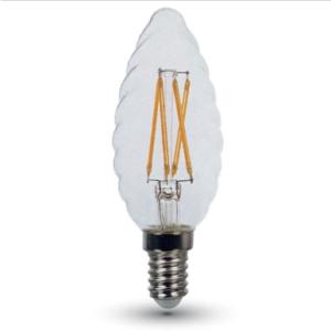 Λάμπα LED E14 Κερί Cross Filament 4W Θερμό λευκό 2700K Γυαλί διάφανο