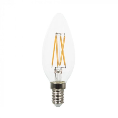 Λάμπα LED E14 Κερί Cross Filament 4W Θερμό λευκό 2700K Γυαλί διάφανο Dimmable