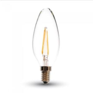 Λάμπα LED E14 Κερί Filament 4W Θερμό λευκό 2700K Γυαλί διάφανο Dimmable