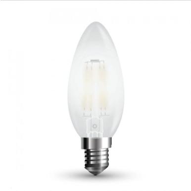 Λάμπα LED E14 Κερί Filament 4W Θερμό λευκό 2700K Frost Cover Dimmable