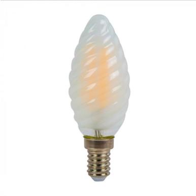 Λάμπα LED E14 Κερί Twist Cross Filament 4W Λευκό 6400K Frost Cover