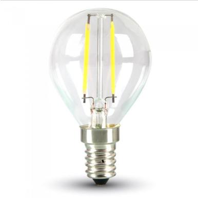 Λάμπα LED E14 P45 Filament 4W Φυσικό λευκό 4000K Γυαλί διάφανο