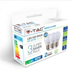 Λάμπα LED E27 G45 SMD 5.5W Θερμό λευκό 2700K Λευκό Blister 3 τμχ.