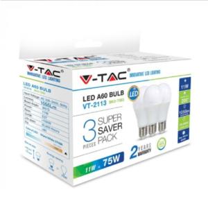 Λάμπα LED E27 A60 SMD 11W Θερμό λευκό 2700K Λευκό Blister 3 τμχ.