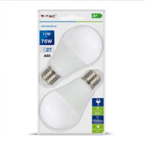 Λάμπα LED E27 A60 SMD 11W Λευκό 6400K Λευκό Blister 2 τμχ.