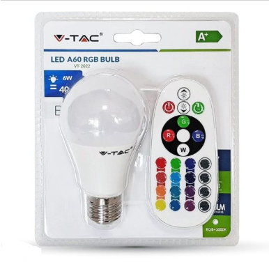 Λάμπα LED E27 A60 SMD 6W RGB+Φυσικό λευκό 4000K Λευκό Blister