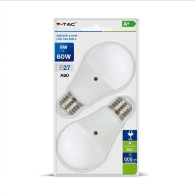 Λάμπα LED E27 A60 SMD 9W Θερμό λευκό 2700K Λευκό με ανιχνευτή νύχτα/μέρα Blister 2 τμχ.