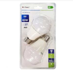 Λάμπα LED E27 A60 SMD 9W Λευκό 6400K Λευκό Blister 2 τμχ.