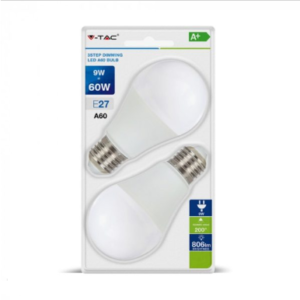 LED E27 A60 SMD 9W Θερμό λευκό 2700K Λευκό Dimmable 3 βημάτων Blister 2 τμχ.