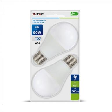 Λάμπα LED E27 A60 SMD 9W Λευκό 6400K Λευκό Dimmable 3 βημάτων Blister 2 τμχ.