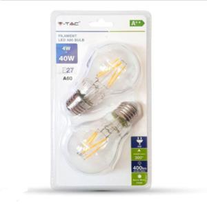 Λάμπα LED E27 A60 Cross Filament 4W Θερμό λευκό 2700K Γυαλί διάφανο Blister 2 τμχ.
