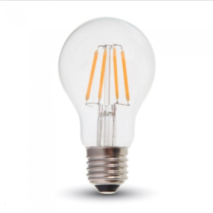 Λάμπα LED E27 A60 Filament 4W Θερμό λευκό 2700K Γυαλί διάφανο