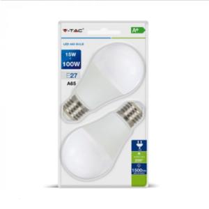 Λάμπα LED E27 A65 SMD 15W Θερμό λευκό 2700K Λευκό Blister 2 τμχ.