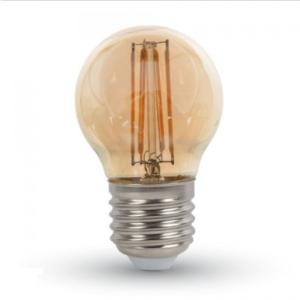 Λάμπα LED E27 G45 Filament 4W Θερμό λευκό 2200K Γυαλί amber