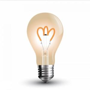 Λάμπα LED E27 A60 Curve Filament 3W Θερμό λευκό 2200K Γυαλί amber