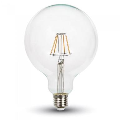 Λάμπα LED E27 G125 Filament 4W Θερμό λευκό 2700K Γυαλί διάφανο Dimmable