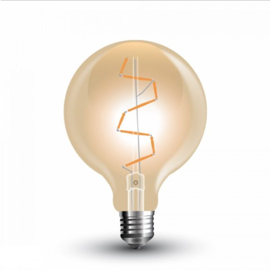 Λάμπα LED E27 G95 Filament 4W Θερμό λευκό 2200K Γυαλί amber