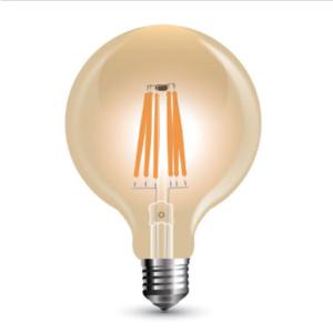 Λάμπα LED E27 G125 Filament 8W Θερμό λευκό 2200K Γυαλί amber Dimmable