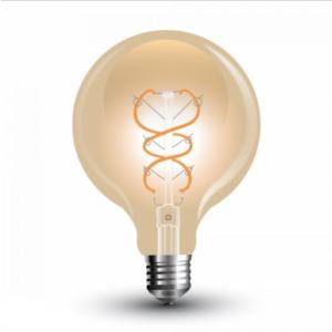 Λάμπα LED E27 G125 Curve Filament 5W Θερμό λευκό 2200K Γυαλί amber