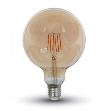 Λάμπα LED E27 G125 Filament 4W Θερμό λευκό 2200K Γυαλί amber