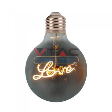 Λάμπα LED E27 Special Filament G125 5W Θερμό λευκό 2200K Amber cover