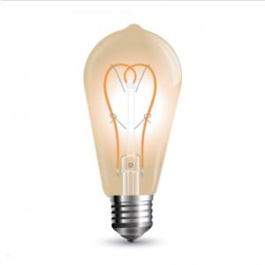 Λάμπα LED E27 ST64 Curve Filament 5W Θερμό λευκό 2200K Γυαλί amber