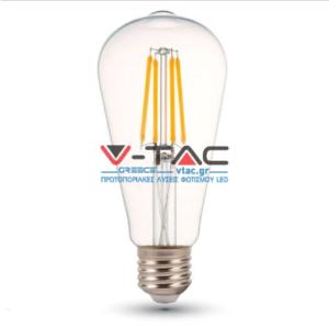 Λάμπα LED E27 ST64 Filament 4W Θερμό λευκό 2700K Γυαλί διάφανο
