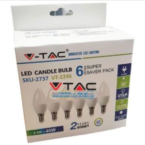 Λάμπα LED E14 Κερί SMD 5.5W Θερμό λευκό 3000K συσκευασία 6 τμχ.