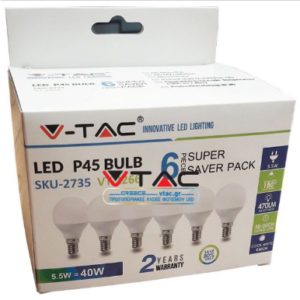 Λάμπα LED E14 P45 SMD 5.5W Λευκό 6400K συσκευασία 6 τμχ.
