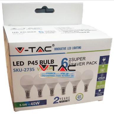 Λάμπα LED E14 P45 SMD 5.5W Φυσικό λευκό 4000K συσκευασία 6 τμχ.