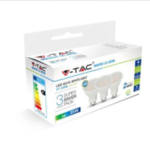 Λάμπα LED Spot GU10 SMD 5W θερμό λευκό 2700K λευκό blister 3 τμχ.
