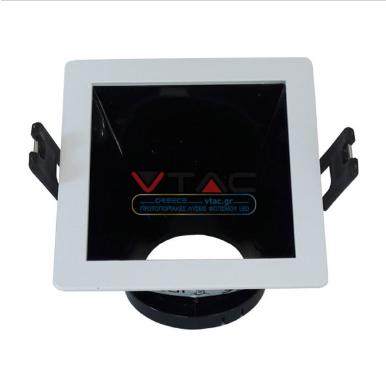 Χωνευτό φωτιστικό spot GU10 τετράγωνο γωνιακό λευκό και μαύρο σώμα κινητό