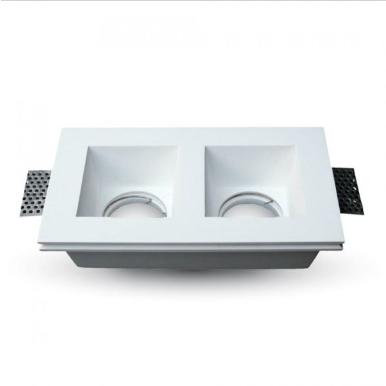 Γύψινο χωνευτό φωτιστικό spot GU10 ορθογώνιο λευκό σώμα