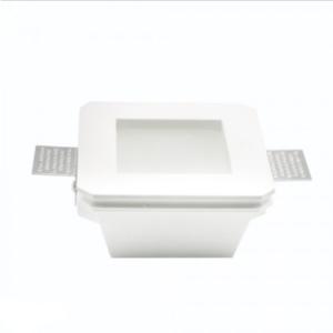 Γύψινο χωνευτό φωτιστικό spot GU10 τετράγωνο λευκό σώμα και γυαλί frost