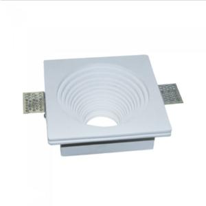 Γύψινο χωνευτό φωτιστικό spot GU10 τετράγωνο/στρογγυλό βαθύ κλιμακωτό λευκό σώμα