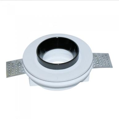 Χωνευτό φωτιστικό spot GU10 γύψινο στρογγυλό με λευκό & μαυρο σώμα